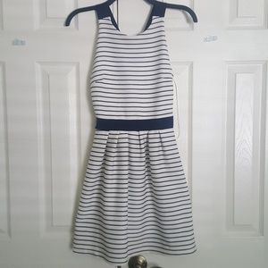 Candies White and Navy Striped Criss Cross Dress